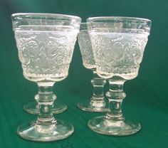 Vintage Duncan Miller Sandwich Clear Liquor Cocktail Glasses #41 Lot of Four