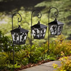 Disney Lanterns with Shepherd's Hook provides a unique pathway light for your lawn or garden. Disney character silhouette lanterns are lighted with a soft LED glow that will highlight the Disney ch...