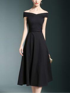 0e6c707aa7fe Black Off The Shoulder Tie Waist Midi Dress