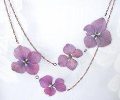 Purple OR White Hydrangea Pressed Flower Petal Necklace - Thumbnail 2