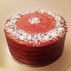 My mix of sprinkles on a chocolate and salted caramel cake