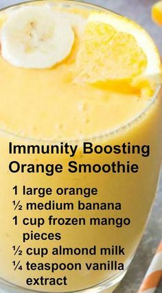 Smoothie Recipes Immunity Boosting Orange Smoothie ~ This Smoothie packs a hefty dose of Vitamin C. It has a refreshing orange flavor with a hint of vanilla! Smoothie Packs, Smoothie Prep, Smoothie Fruit, Raspberry Smoothie, Apple Smoothies, Healthy Smoothies, Healthy Drinks, Green Smoothies, Healthy Food