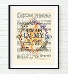 Remain in my Love -John 15:9- Vintage Bible Highlighted Verse Scripture Page- Christian Wall ART PRINT (Favorite Verses Scriptures)