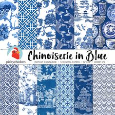 Chinoiserie Digital Paper Chinese patterns blue & by pickychicken