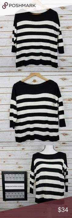 {WHBM} Black/White Striped 3/4 Sleeve KnitTop-XS Lightweight black & white striped knit top. Features 3/4 length sleeves, boatneck line, & a flattering loose fit. Great for a professional of casual wardrobe. In like new condition; no signs of wear. See image for approx. measurements in inches, lying flat. 50% lyocell, 31% silk, 17% viscose, 2% other material. Machine wash. Size XS. Brand: White House Black Market. {@405dec} White House Black Market Tops
