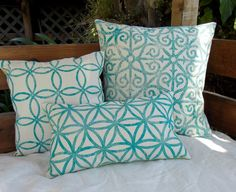 Handprinted Beach Cottage 3 pc Pillow Set  Summer by MacAndLexie, $140.00