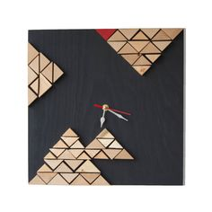 Deco Tectonic Neutral / Wood wall clock / Geometric mosaic / Unique design Liliana Stoica ▀▄ ▀▄ ▀▄ Collection - limited edition - Me and Time Massive wood cut in geometrical pattern, manual painted and assembled with an abstract vision for shapes and shadows. The collection its a
