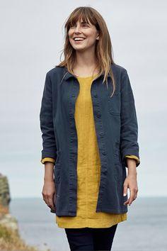 Womens Blue Linen Pentowan Jacket, Chore Workwear Jacket - By Seasalt Cornwall Coats For Women, Jackets For Women, Clothes For Sale, Clothes For Women, Stylish Coat, Mature Fashion, Linen Jackets, Modest Outfits, Casual Looks