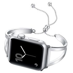 Shop beautiful silver apple watch cuff band straps from quality stainless steel Apple Watch Cuff, Apple Watch Bracelets, Apple Watch Wristbands, Apple Watch Sizes, Apple Watch Bands Fashion, Apple Band, Silver Apples, Web Design, Adjustable Bracelet