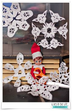Our Elf on the Shelf made us some Star Wars paper snowflakes!! #ElfontheShelf