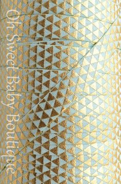 Fold Over Elastic 5 Yards Aqua Gold Foil by OhSweetBabyBoutique