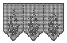 Amostras de cortinas de crochê com gráficos.