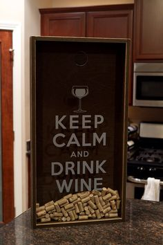 Wine Cork Holder Shadow Box - Keep Calm and Drink Wine - Customizable