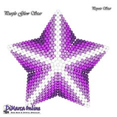 Beading Pattern/Tutorial Purple Glow 3D PEYOTE STAR Basic