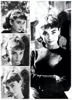 Simple pieces are what make audrey's style so timeless. This black crew neck sweater is so basic but perfectly styled.The dark color is universally flattering and brings attention to her face.