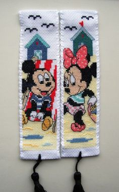Vervaco Cross stitch bookmarks-Minnie & Mickey Mouse at the beach.