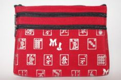 Mah Jongg Red and Silver 3 Zipper Mah Jong Purse for Mahjong Card