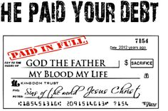 God paid the debt -  The debt was sin, Ezekiel 18:20  The soul who sins shall die. Sin is against God, only God could pay the price.  Jesus satisfied the debt that was owed to Him.