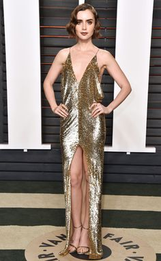 Lily Collins in Saint Laurent at the Vanity Fair Oscars Party 2016.