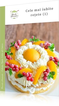 Layer cake with peaches. Layer cake with lots of whipped cream and compote peaches. Easy and delicious home made recipe.[in Romanian] Fun Desserts, Dessert Recipes, Whipped Cream Cakes, Different Fruits, Cookie Cups, Sweet Tarts, Summer Recipes, Food To Make, Pie