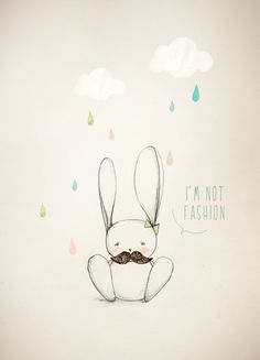 Cute Bunny with Clouds and Raindrops, Illustration