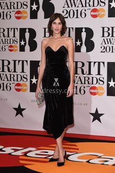 Alexa Chung Black Strapless Tea Length Evening Prom Dress BRIT Awards 2016