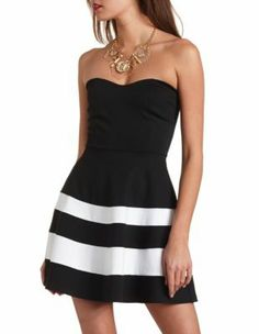 two-tone striped strapless skater dress, <33333