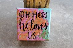 Oh How He Loves Us // paper collage canvas // by colorsoncanvas, $10.00