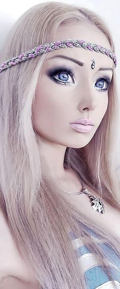 Human Barbie Doll, Valeria Lukyanova, Poses For V Magazine. The Ukranian model became an Internet phenomena after photos of her doll-like features and Barbie proportions went viral around the world. Very strange.