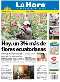 Los temas destacados son: Hoy, un 3% más de flores ecuatorianas, Asó se abre una empresa, Quito consume menos agua, Yasunidos dice que hubo mala fe, Sacapintas, la clave es la información.