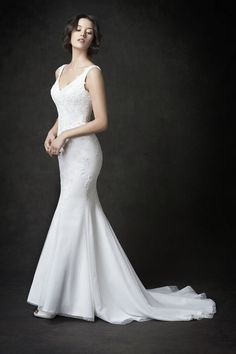 Gallery Style GA2278   beautiful embroidered lace gown with low back   romantic garden wedding   Kenneth Winston wedding dress