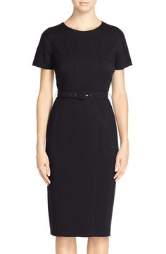 Vince Camuto Belted Crepe Sheath Dress