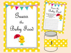 Duck Theme Baby Shower Game Pack, Neutral, duck theme, Whimsical Duck Baby Shower Games Printables, yellow polka dots TLC30, guess the baby food game