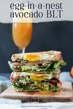 Egg-in-a-Nest Avocado BLT - The classic BLT gets and upgrade with delicious egg-in-a-nest toasted bread and a generous schmear of creamy avocado. Healthy Recipes, Top Recipes, Meal Recipes, Drink Recipes, Cooking Recipes, Bacon Avocado, Sandwich Spread, How To Cook Eggs, Easy Weeknight Meals