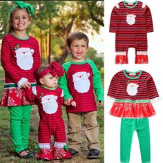 Little Sister Big Sister Matching Christmas Santa Claus Dresses Outfit Little Girl Outfits, Cute Little Girls, Toddler Outfits, Kids Outfits, Matching Christmas Outfits, Family Christmas Outfits, Big Sister Little Sister, Little Sisters, Romper Outfit