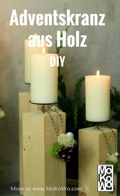 Adventskranz aus Holz selber machen DIY - MoKoWo Weihnachtsblog ...