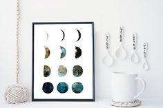 Galaxy moon phase print wall art poster moon art by WhiteDoePrints