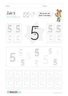 Ein kostenloses Mathe-Arbeitsblatt zum Schreiben lernen der Zahl 5, auf dem die Kinder verschiedene Aufgaben zum Nachspuren der Zahl 5 finden. Jetzt kostenlos downloaden! Montessori Education, Number 5, Kindergarten Math, Grade 1, Kids Learning, Worksheets, Alphabet, Homeschool, Children