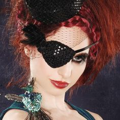 Black Feather Eye Patch by gothfoxdesigns on Etsy, $14.00