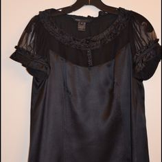 Black silk blouse Lovely & sexy black silk dress Marc Jacobs Tops Blouses