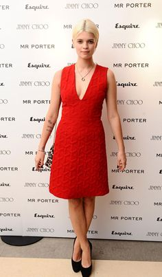 Pixie Geldof at the Mr. Porter Party jonathan saunders red dress