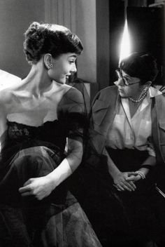 Audrey Hepburn and famous costume designer Edith Head who won 8 Academy Awards for her skill, dressing actors for parts in epic movies.