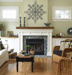 Living room with natural, wood, gray, stone and Benjamin-Moore Guilford Green, 2015 color of the year - Lights Online Blog