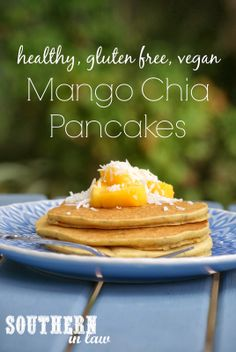 Healthy Mango Chia Pancakes Recipe !!! Sound delicious!! Also, are very Simple to make ( don't need a million ingredients!), gluten free and vegan :)