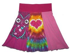 Tie Dye Skirt Girls Size 10 12 Upcycled Hippie Skirt recycled owl t-shirt clothing Twinkle Skirts Twinklewear
