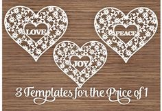 Love Peace Joy (3 Templates) in flowers and Heart PDF SVG (Commercial Use) Instant Download Digital Papercut Template by ArtyCuts on Etsy