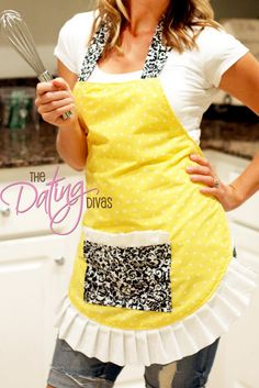 Flirty Apron Tutorial | The Dating Divas  Nice tutorial, but probably not for a first time sewer. There are a few little details left out (like folding over edges so you have a finished seam, which ways to line up fabrics, etc.). Easy for any who have done a few projects, though! And SUPER cute!