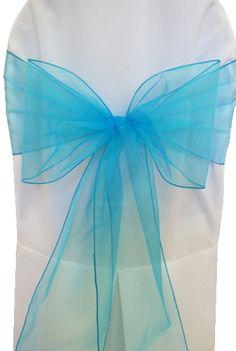 "Turquoise Sashe Organza 8"" x 108"" - Rental $0.45"