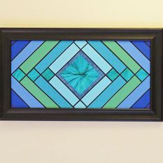 Art deco stained glass quilt art, paper, French braid pattern in shades of blue, teal, aqua and green, craftsman art deco style on Etsy, $20.00