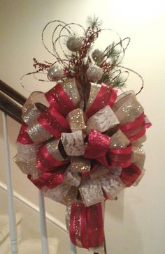 "5/"" or 10/"" LUXURY DEEP ROSE /& GOLD WIRED CHRISTMAS RIBBON BOW  WREATH  TREE  GIFT"
